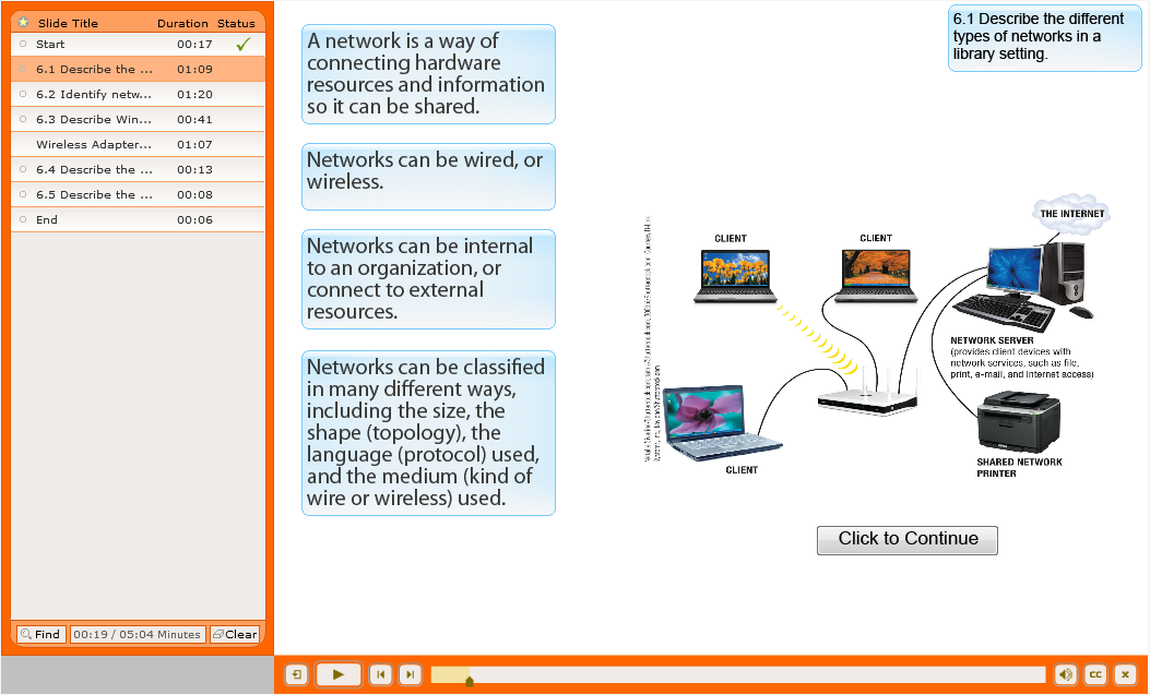 E-Learning - picture in white and orange of a network