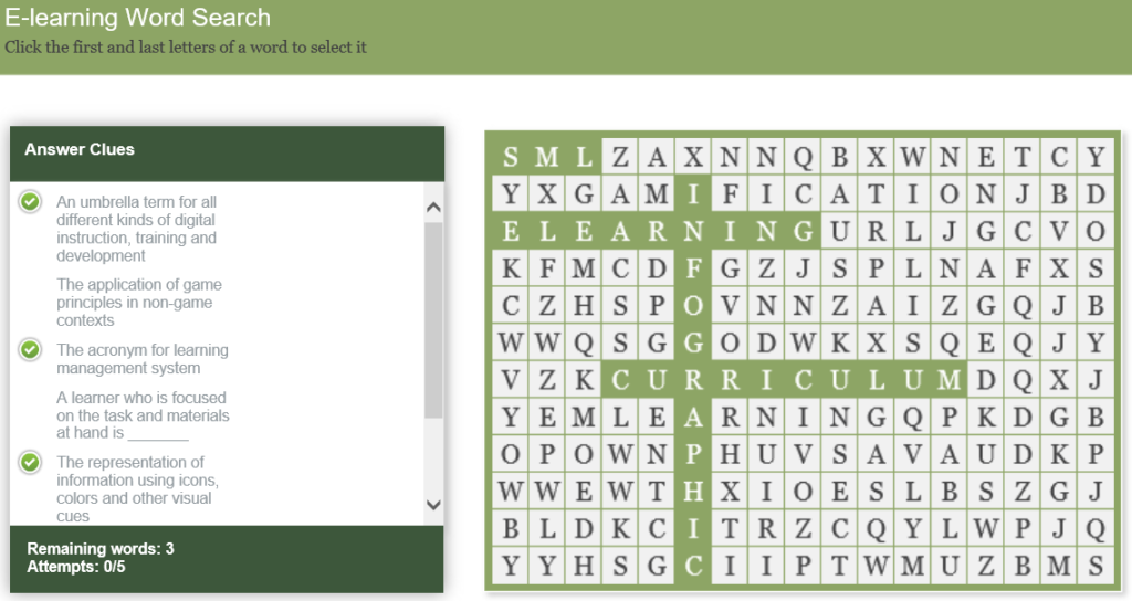 Gamification - wordsearch game